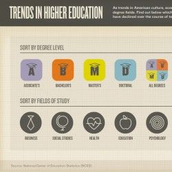 This interactive infographic takes a look at how cultural and economic trends have changed American students' choices in degree fields between 1998 and 2008. The piece allows readers to look at the data through the lens of degree fields (Business, Education, Health, etc.) as well as through the lens of degree levels (Bachelors, Masters, etc.). The data can also be filtered by sex, which sheds light on the different career paths preferred by men and women.