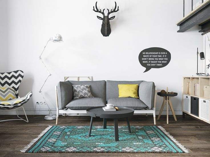 Chic Scandinavian Studio With Lofted Bed Interior Design Ideas