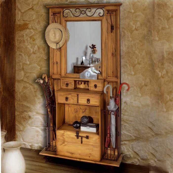 Recibidor r stico muebles saskia en pamplona rustico - Perchero recibidor antiguo ...