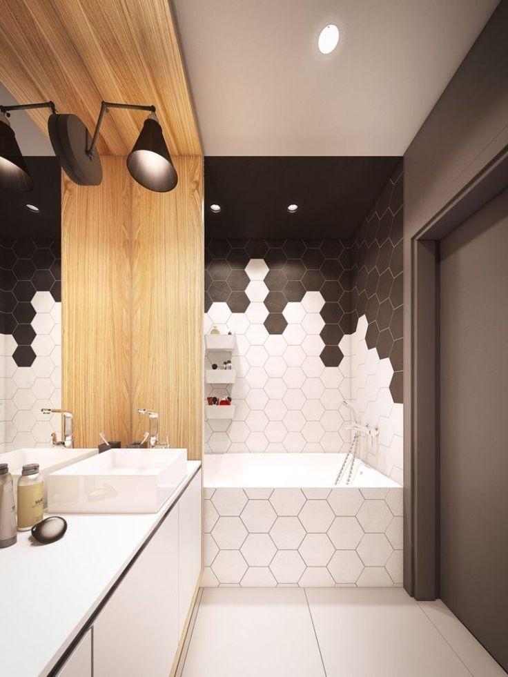 Die sechseckige Badezimmerfliese liegt im Trend!