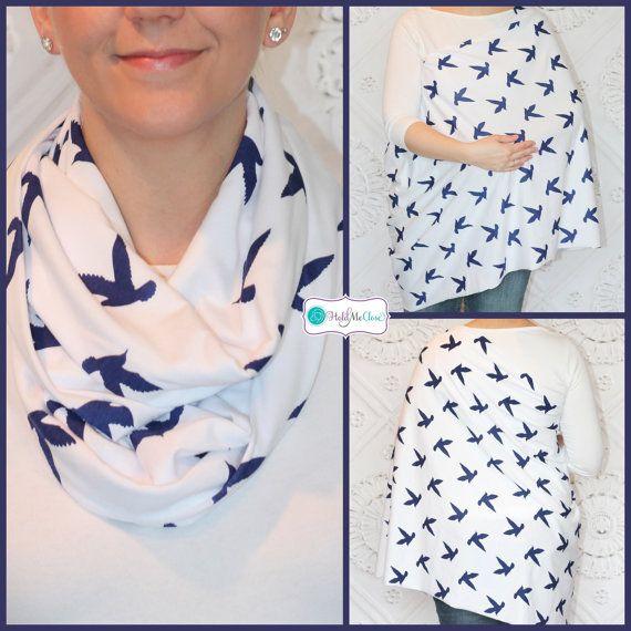 NEW White with Navy Birds Hold Me Close Nursing Scarf, Nursing Cover, Infinity Nursing Scarf