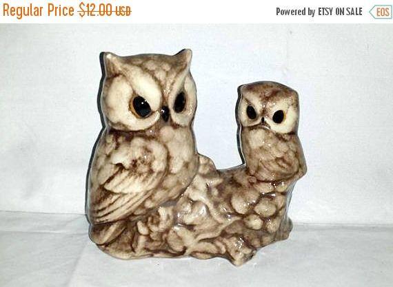 Vintage Owl Figurine,Perched Owls,Owl Figurine,Jeweled Eyes, Birds,Owl Decor,Owls,Owl, Kitsch,Mama Owl, Baby Owl,Bird Lovers,Gifts, Animals by JunkYardBlonde on Etsy