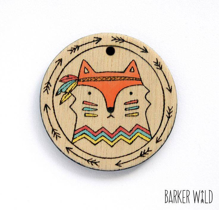 Tribal Fox Pendant - Watercolour & Pyrography wearable art, wood animal necklace, Woodland foxes Eco Pendant, Organic Rustic Nature by BarkerWild on Etsy https://www.etsy.com/listing/176059962/tribal-fox-pendant-watercolour