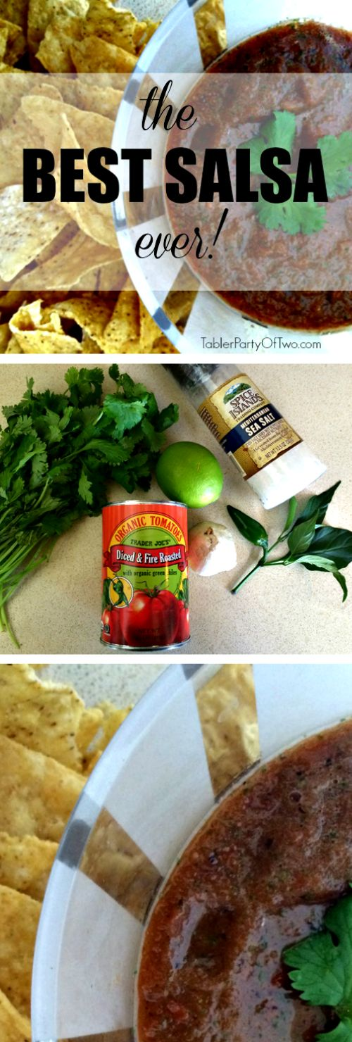 Best Salsa Ever -- trust me! It's delicious and super easy to throw together! Tabler Party Of Two | TablerPartyofTwo.com