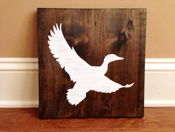 Duck Silhouette Wood Sign Custom Stained And Hand Painted Choose Colors