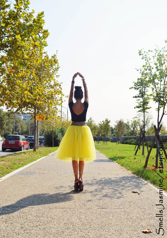 Yellow Tulle Skirt Adult Tutu Women Tulle Skirt by SmellsJasmine