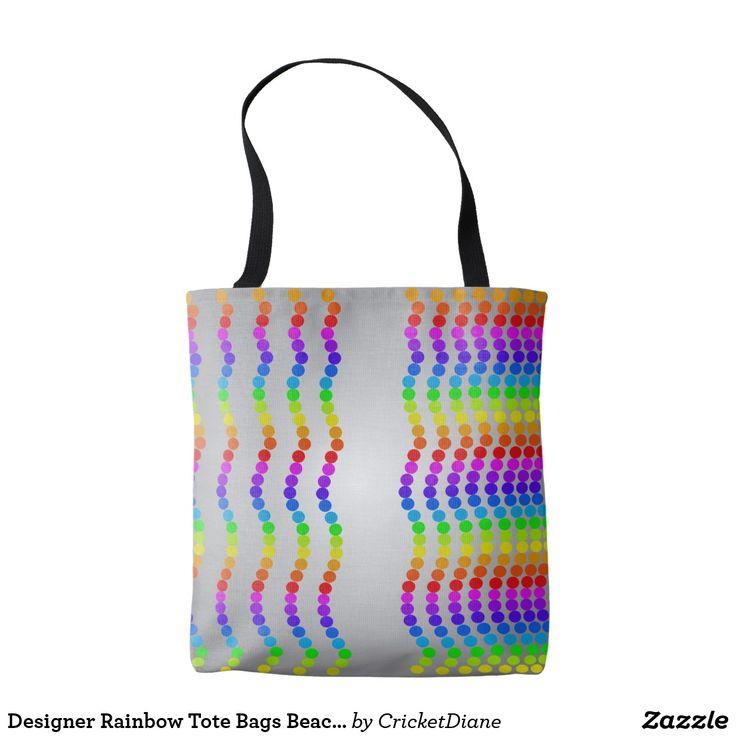 Designer rainbow tote bags beach shopping totes shopping for Designer beach bags and totes