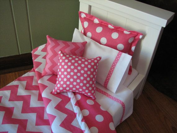 "Chevron Bedding Set for American Girl Doll or similar 18"" dolls - Hot Pink on Etsy, $28.00"