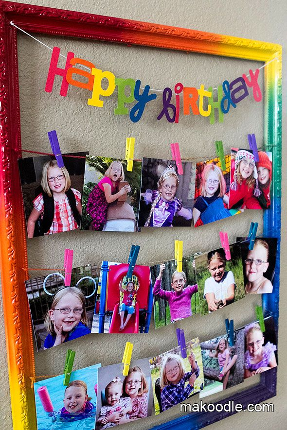 Clothespin Picture Frame - Makoodle- maybe I will make this for Loch's birthday?