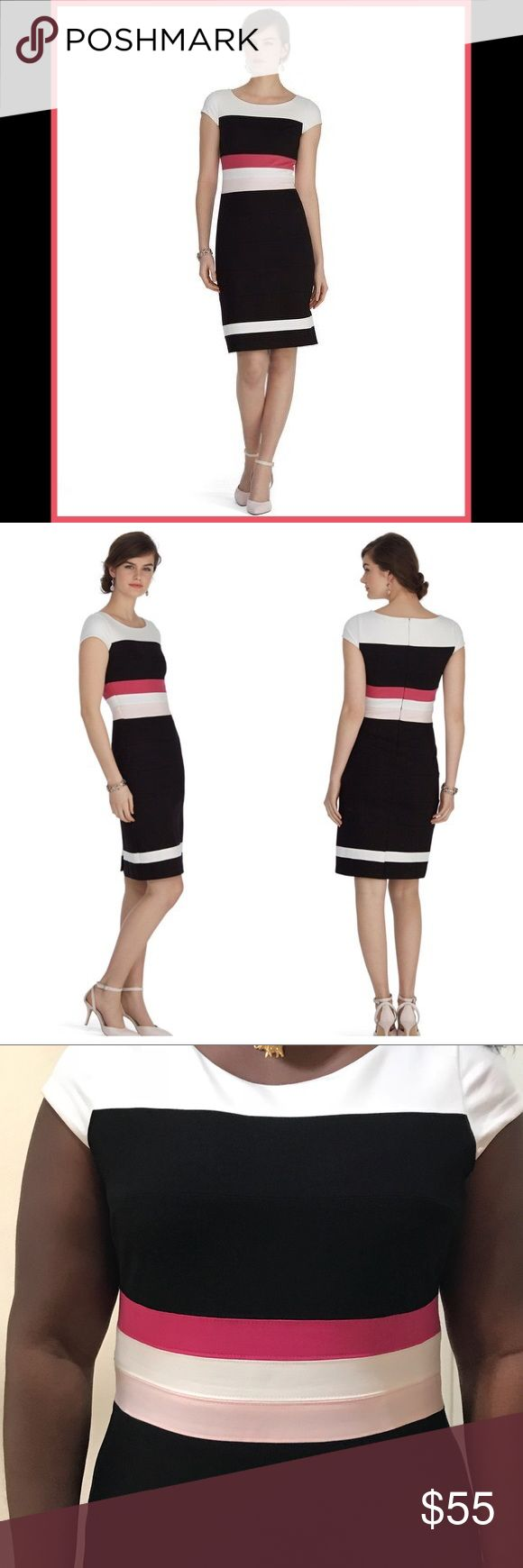"""White House Black Market Colorblock Dress Size 12 Banded colorblocks highlight for a curve compliment in pops of pink along the waistline of this cap sleeve dress with stunning sheath silhouette. Cap sleeves. Invisible back zip with hook and eye closure. Fully lined. 70% viscose, 25% polyamide, 5% elastane. Lining: 92% polyester, 8% spandex. Machine wash, cold. Imported. Approximately 38.5"""" in length from shoulder. Size 12. Gently worn. White House Black Market Dresses"""