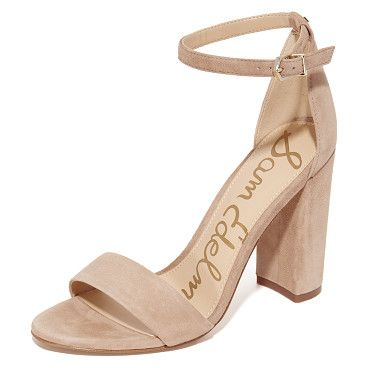 yaro suede sandals by Sam Edelman. Refined Sam Edelman sandals cut from luxe suede. Slim ankle strap with buckle closure. Covered heel and synthetic sole. Leather: Cowhide. Imported, China. This item cannot be gift-boxed. Measurements Heel: 3.5in / 90mm #samedelman #nudeshoes #sandals