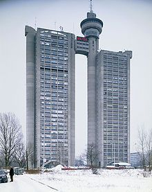 Brutalist architecture - Western City Gate, Belgrade, Serbia, 1980