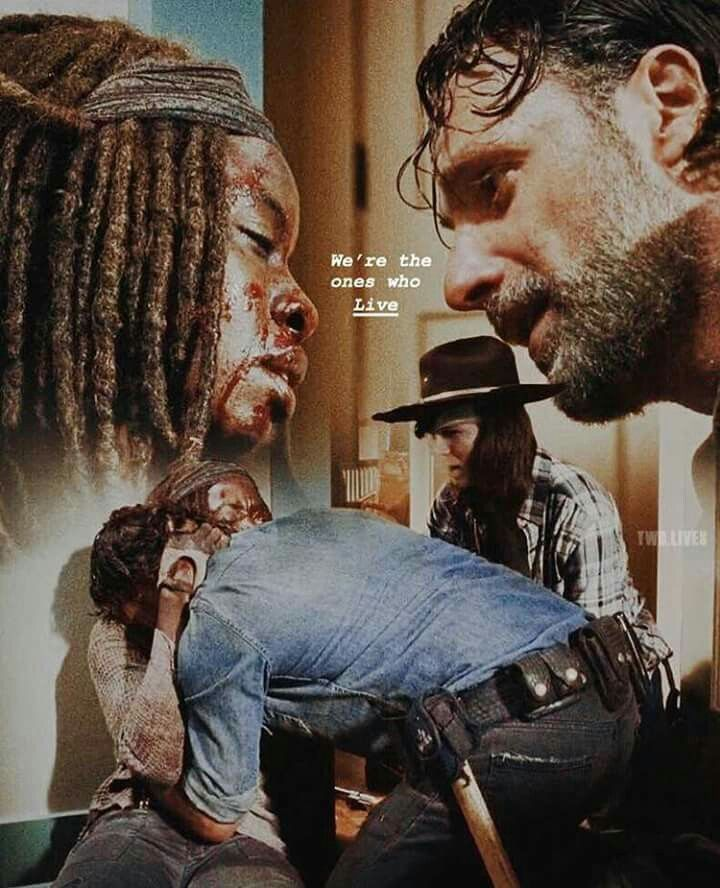 """We're the ones who live."" Rick Grimes to Michonne in Alexandria ○ Season 7 Episode 16 ● ""The First Day of the Rest of Your Life"""