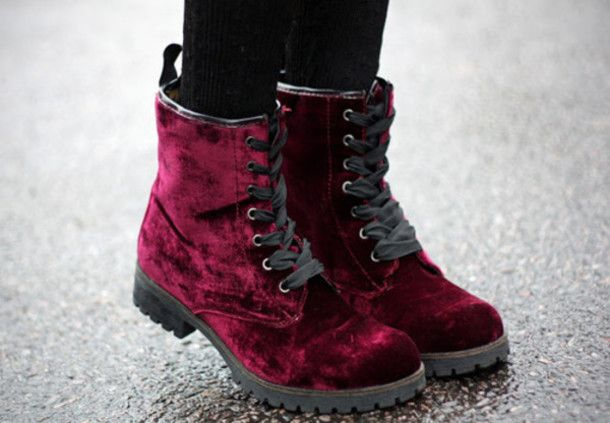 shoes doc martin martins doc martins faux velvet boots ankle botts lace up purple maroon indie retro grunge 90s burgundy