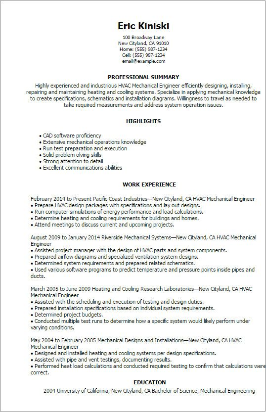 Mechanical Engineering Resume Templates Cool Professional Hvac Mechanical Engineer T Engineering Resume Mechanical Engineer Resume Engineering Resume Templates