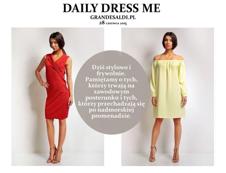 Na jutro polecamy dwie sukienki. Ponieważ rozpoczęły się wakacje, jedna letnia wakacyjna propozycja, druga z myślą o kolejnym tygodniu w biurze. http://www.grandesaldi.pl/pl/p/Stylowa-sukienka-biznesowa/5978 http://www.grandesaldi.pl/pl/p/Letnia-sukienka-odslaniajaca-ramiona/5980