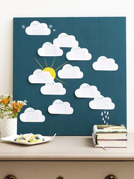 Ab sofort schweben wir jeden Monat auf Wolken - das ganze Jahr lang! Besonders süß: Neben den einzelnen Monats-Wölkchen kann man - je nach Jahreszeit - Eiskristalle, Regen oder eben eine Sommersonne malen.