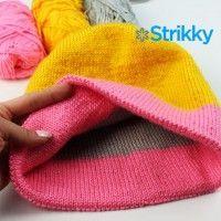 Двухсторонняя яркая шапка вязаная спицами для женщин в исполнении Надежды Вязание by Nadine. Описание вязания простое, подойдёт также для начинающих.