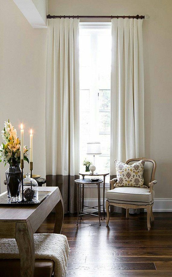 Pair Of Linen Drapes Inverted Pleats Color Block Curtains Etsy Color Block Curtains Paint Colors For Home Home #off #white #curtains #living #room