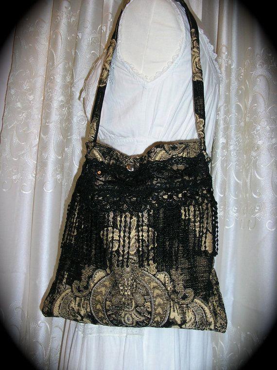 Black Tapestry Bag handmade thick upholstery by GrandmaDede, $95.00