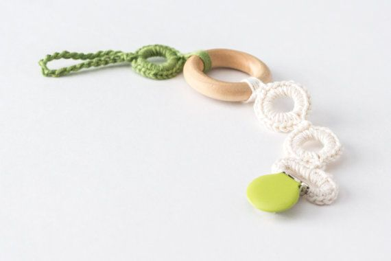 Pacifier Clip with Organic Wood Teether, Crochet Teething Ring, Baby Gift,  Paci Clip, Soother Clip