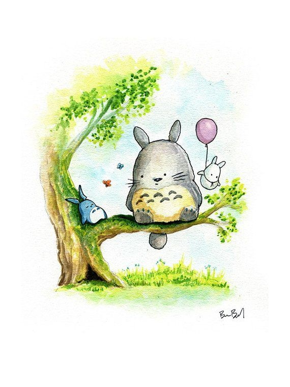 6a32d0c31 Totoro Watercolor Print in 2019 | Products | Totoro, Totoro drawing ...