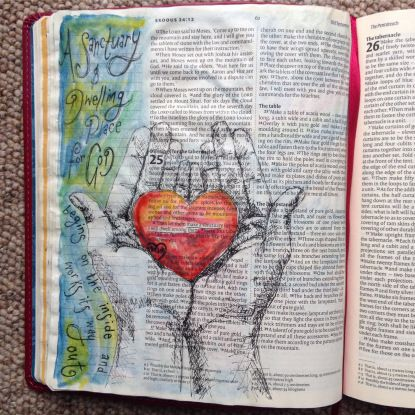 A Sanctuary. Draw Close Blog. GOD builds a dwelling place from the inside. Ark of the Covenant, beauty, bible art, bible journal, bible journaling, bible study, built from the heart, center, centre, changed, choice, dwell, dwelling place, Exodus 25, GOD looks at the heart, heart, heart choice, I Samuel 16:7, inside out, Moses, offering, Proverbs 4:20-27, sanctuary, tebernacle