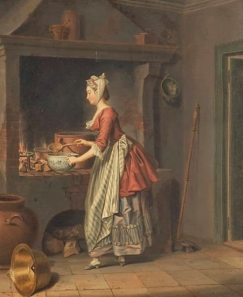 Pehr Hilleström (Swedish artist, 1732-1816) A Lady at the Hearth
