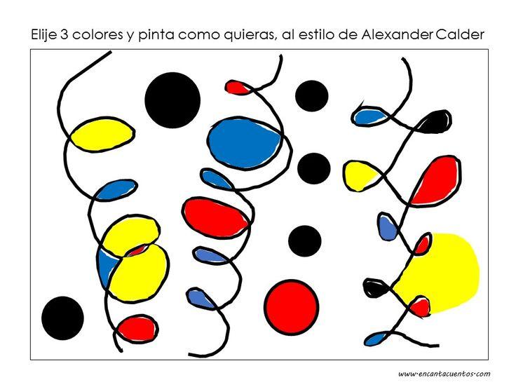 Elije 3 colores y pinta como Alexander Calder. Descarga la lámina en blanco en www.encantacuentos.com, o haz tu propio dibujo con espirales y rulitos.