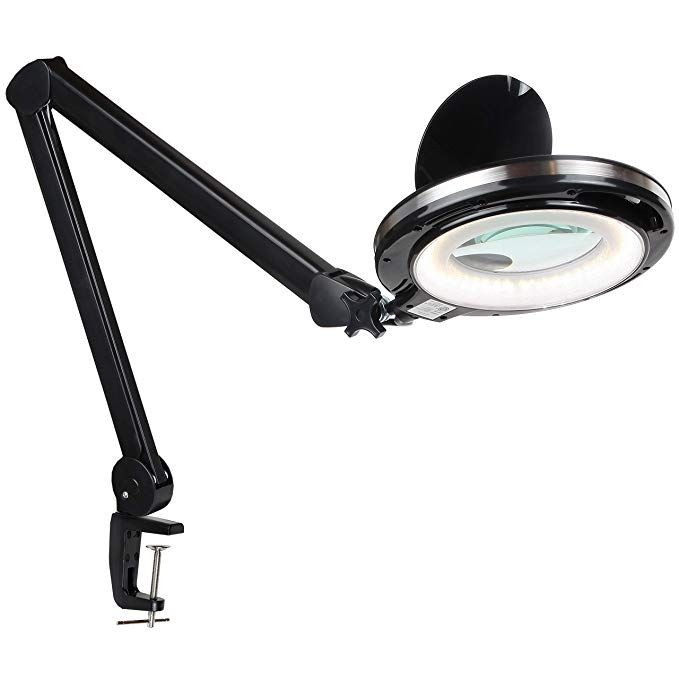 Brightech Lightview Pro Led Magnifying Clamp Lamp Daylight Bright Magnifier Lighted Lens Dimmable With Adjustable Color Clamp Lamp Magnifier Magnifier Lamp