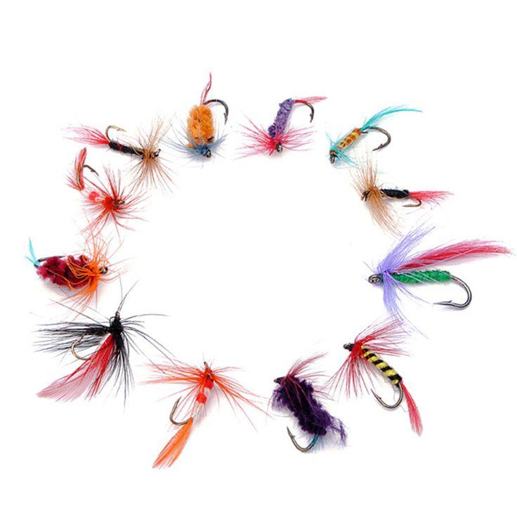 12 adet/grup Fly Balıkçılık Cazibesi Set Tarzı Böcek Yapay Balıkçılık Bait Tüy Tek Kanca Sazan Balık Cazibesi