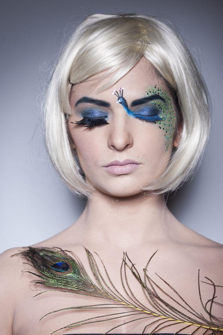 FANTASY PEACOCK MAKEUP (Maquillaje fantasía pavo real).  #fantasymakeup #makeup #peacock #pavoreal