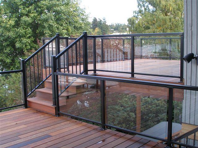 Railings west coast decks backyard pinterest for Garden decking handrails