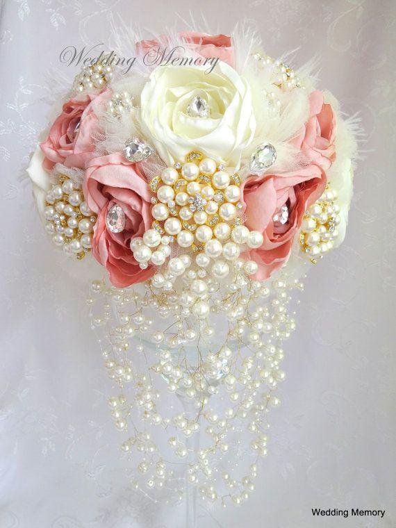 Blush pink cascade brooch bouquet cascading ivory by MemoryWedding