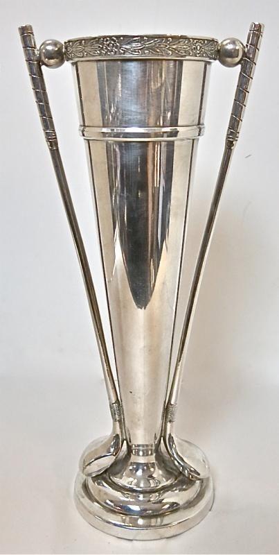 Silver Golf Trophy With Golf Club Handles. For sale at www.EstateSilver.com