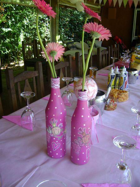 Botellas decoradas, centros de mesa original - SOUVENIRS PARA FIESTAS