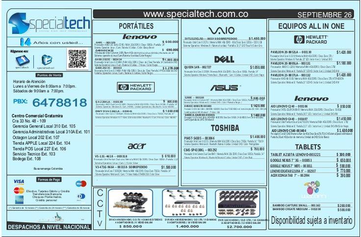 Listado de precios specialtech 26 de septiembre
