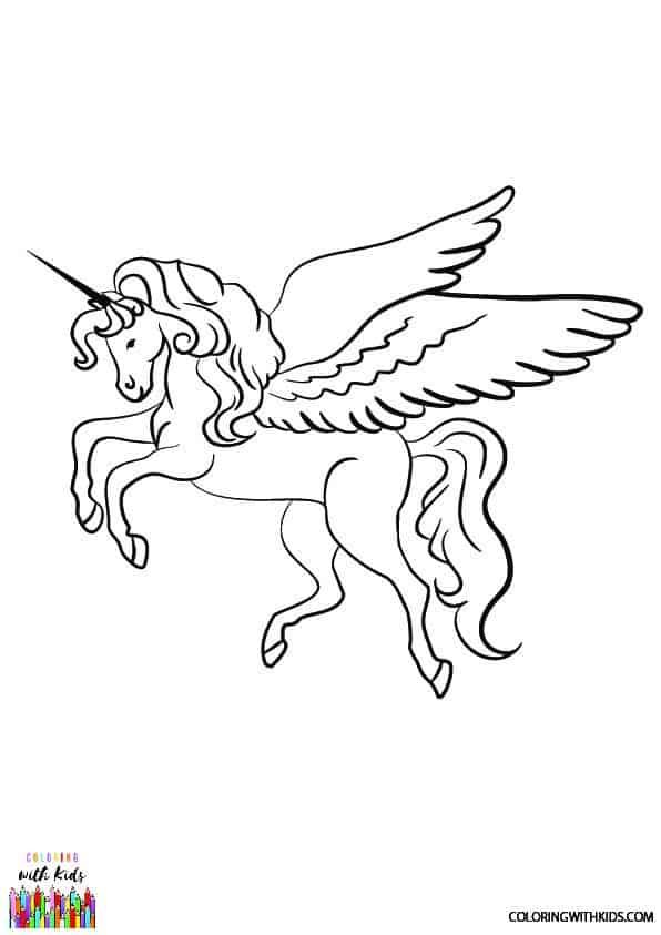 Flying Unicorn Coloring Page Permission Public Domain Coloringwithkids Com Coloringpages Unicorn Coloring Pages Horse Coloring Pages Flying Unicorn