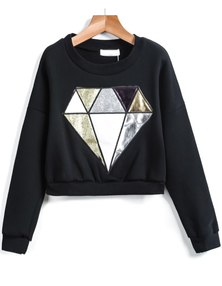 Shop Black Long Sleeve Diamond Print Crop Sweatshirt online. Sheinside offers Black Long Sleeve Diamond Print Crop Sweatshirt & more to fit your fashionable needs. Free Shipping Worldwide!