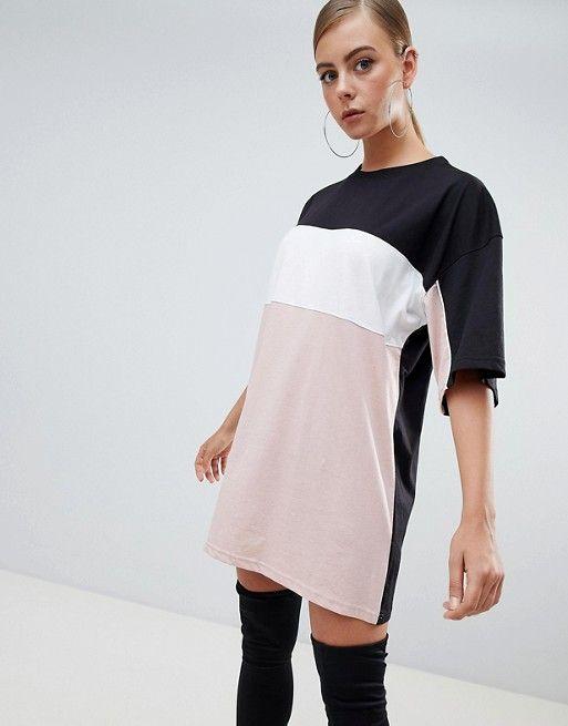 3a1ba75fdd1b1 Missguided Color Block T-Shirt Dress in 2019 | Threads. | Dresses ...