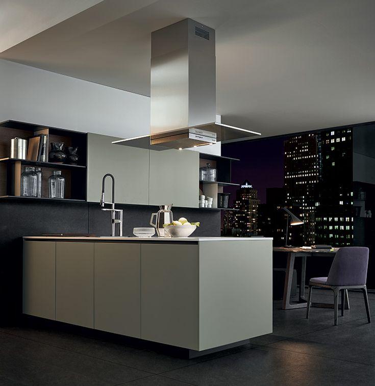 Varenna_Alea kitchen with creta embossed lacquered base units, worktop in superwhite micro-blasted quartzite.