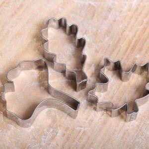 Autumn Leaves Cookie Cutters  from stainless steel Koekjes uitsteekset -  Herfstblaadjes rvs - eiken- esdoorn- en ginkgo bilobablad