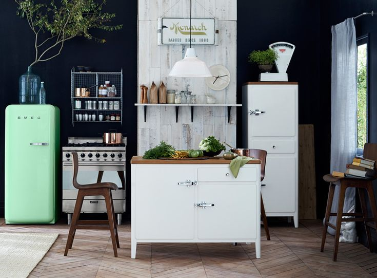 Kitchen Storage Advice | west elm- refurbish an old dresser/desk and use it as an island in your kitchen for extra storage space.