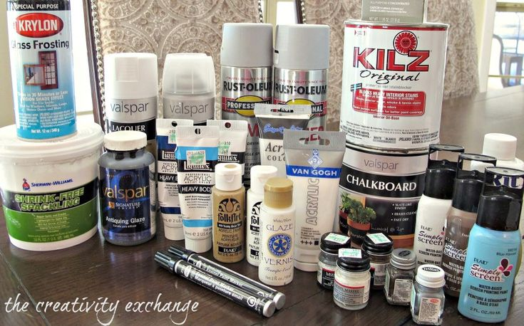 Collection of what paints work best for various DIY and craft projects including painting on glass, plastic and fabric {The Creativity Exchange}