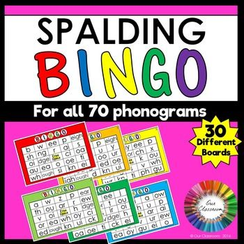 Spalding Phonogram Bingo Game! An engaging and fun way for your students to practice the Spalding phonograms. Includes 30 different game boards and phonogram calling cards. Your students will be asking to play this over and over again!