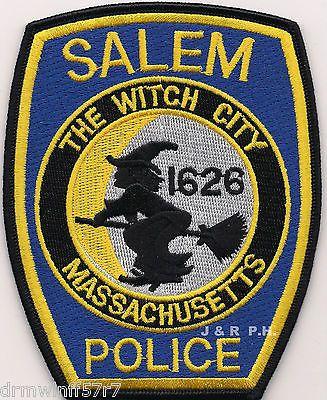 """Salem - Blue, MA """"Witch City-1626"""" (4"""" x 5"""" size) shoulder police patch (fire)"""