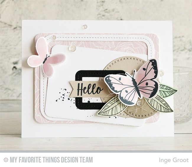 Beautiful Butterflies Card Kit, Distressed Patterns Stamp Set, Fancy Flowers Stamp Set and Die-namics, Single Stitch Line Rectangle Frames Die-namics, Cross-Stitch Circle STAX Die-namics - Inge Groot #mftstamps