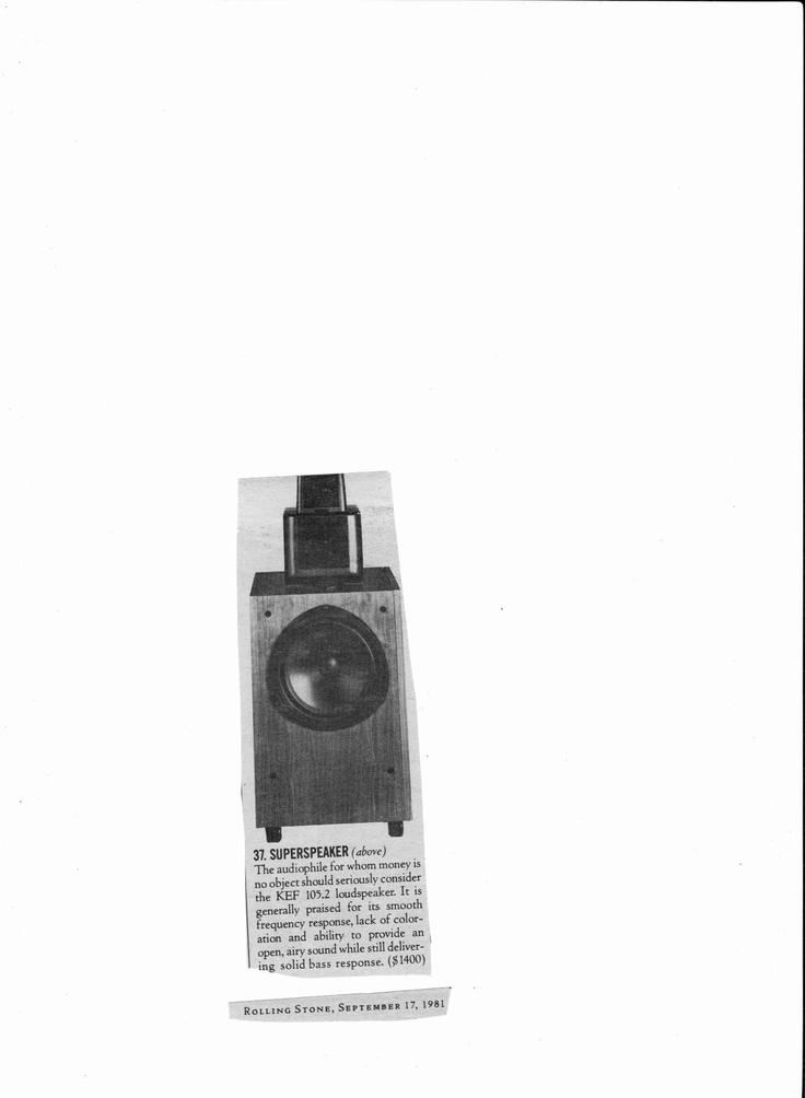 kef 105 2. 1981 kef 105.2 loudspeaker article. praices here for $1400! rolling stone, september 17 kef 105 2