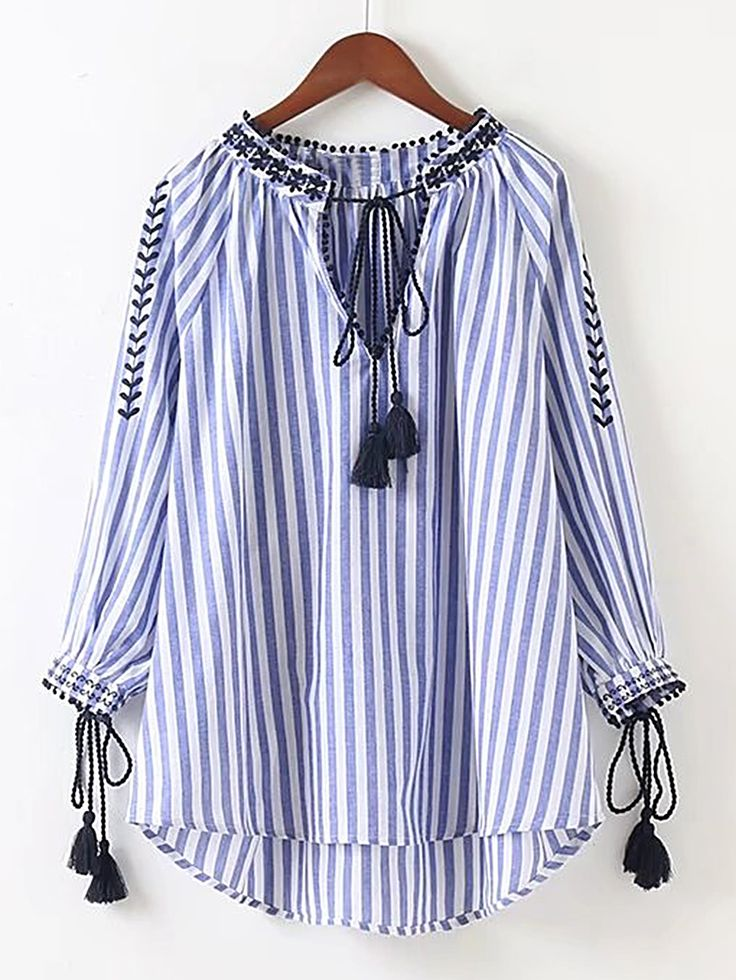 Blusa asimétrica de rayas verticales con bordado -Spanish SheIn(Sheinside)