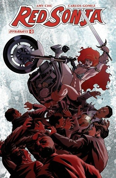 Red Sonja Vol. 4 n°3 (15.03.2017) // Sonja reunites with her trusty sword with the help of her new friend NYPD cop Sir Max of Bushwick. Plus, the She-Devil finally comes face to face with her old foe, the evil sorcerer Kulan Gath, and gets some of her questions about this strange new world answered.  #red #sonja #dynamite #comics